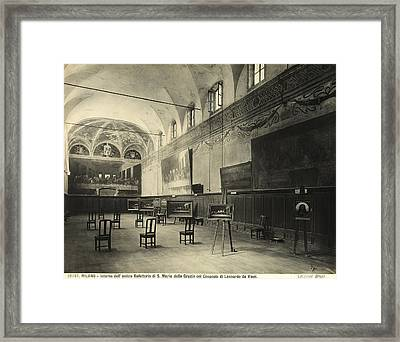 Interior Of The Dining Hall Of The Church Of Santa Maria Delle Grazie Milan Framed Print by Alinari