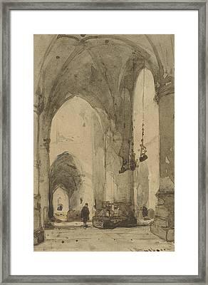 Interior Of The Sint-bavokerk In Haarlem Framed Print by Johannes Bosboom