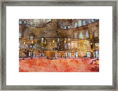 Interior Of The Sultanahmet Mosque Blue Mosque In Istanbul, Turkey Framed Print