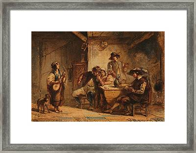 Interior Scene With A Lute Player Framed Print