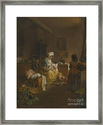 Interior Scene With A Mother Framed Print