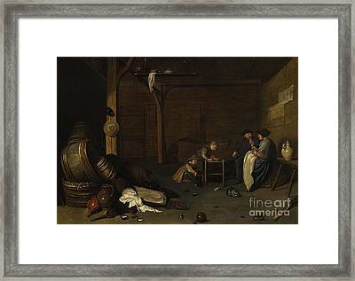 Interior Scene With A Peasant Couple And Two Children Framed Print by MotionAge Designs