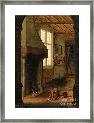 Interior Scene With A Woman Cleaning Framed Print