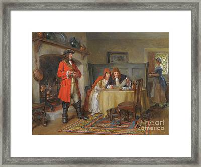 Interior Scene With Lady And Gentleman Framed Print