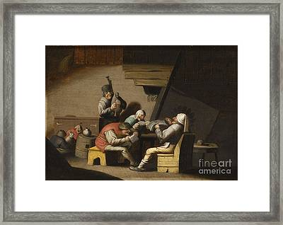 Interior Scene With Peasants Singing And Making Music Framed Print