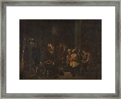 Interior Scene With Soldiers Paying Framed Print