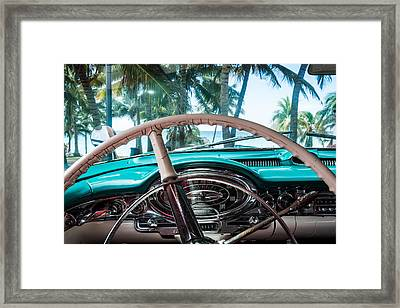 Interior View From A American Classic Car In Cuba Framed Print by Marc Borchert