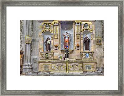 Interior View Of Church In Guanajuato Mexico Framed Print by Juli Scalzi