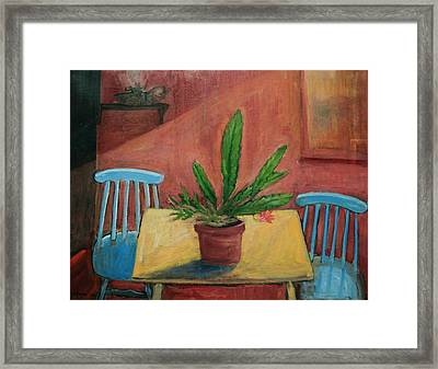 Interior With Blue Chairs Framed Print by Ethel Vrana
