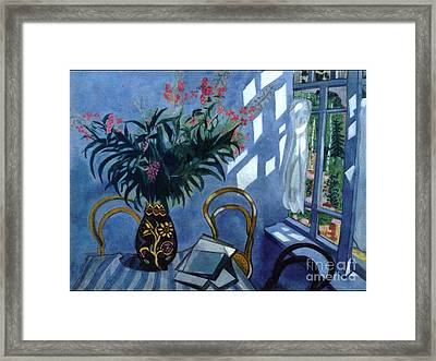 Interior With Flowers Framed Print