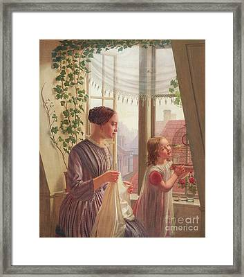 Interior With Mother And Daughter By A Window, 1853 Framed Print