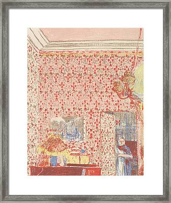 Interior With Pink Wallpaper I, From The Series Paysages Et Interieurs Framed Print