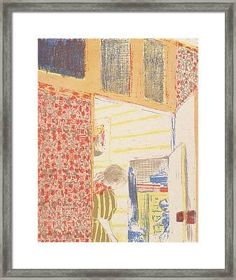 Interior With Pink Wallpaper IIi, From The Series Landscapes And Interiors Framed Print