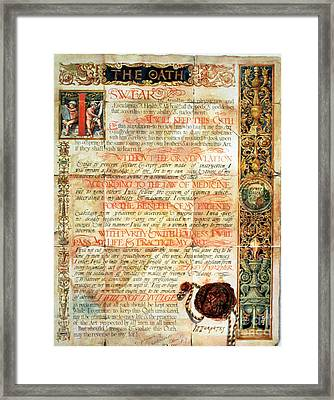 International Code Of Medical Ethics Framed Print by Science Source