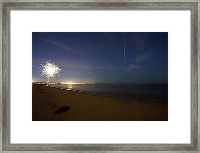 Framed Print featuring the photograph International Space Station Over Old Orchard Beach Maine by Kirkodd Photography Of New England
