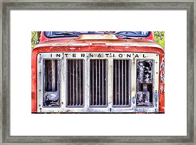 International Truck Grill Framed Print by Eclectic Art Photos