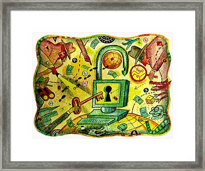 Internet Security And Hackers Framed Print by Leon Zernitsky