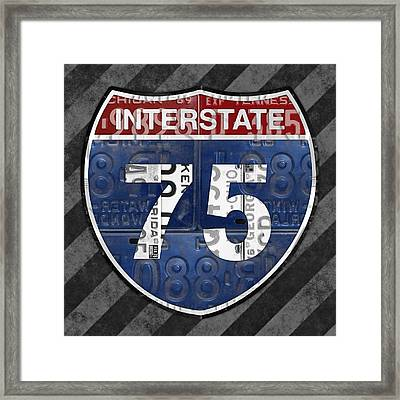 Interstate 75 Highway Sign Recycled Vintage License Plate Art On Striped Concrete Framed Print by Design Turnpike