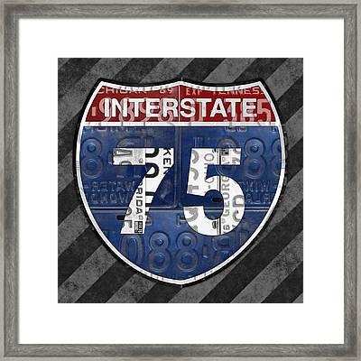 Interstate 75 Highway Sign Recycled Vintage License Plate Art On Striped Concrete Framed Print
