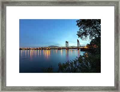 Interstate Bridge Over Columbia River At Dusk Framed Print by David Gn