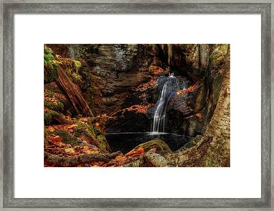 Intimate Autumn Waterfall Framed Print by John Vose