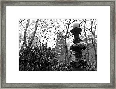 Into Bryant Park Mono Framed Print by John Rizzuto
