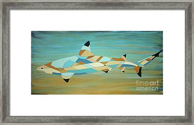 Into The Blue I Shark Painting Framed Print
