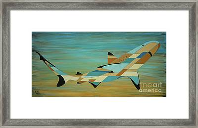 Into The Blue Shark Painting Framed Print