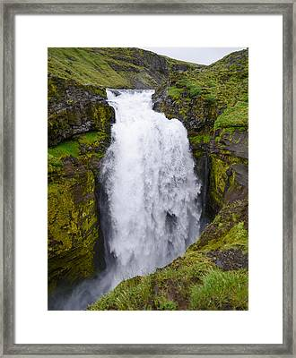 Into The Depths - Waterfall On Iceland's Fimmvorduhals Trail Framed Print