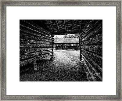 Into The Dogtrot Barn Framed Print