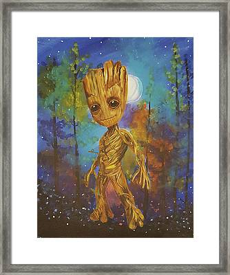 Into The Eyes Of Baby Groot Framed Print