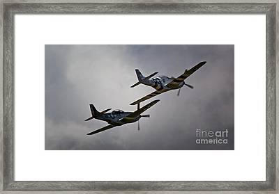 Into The Fight Together 2011 P-51 Mustangs At Chino Air Show Framed Print by Gus McCrea