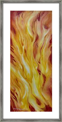 Into-the-fire-ii Framed Print by Nancy Newman