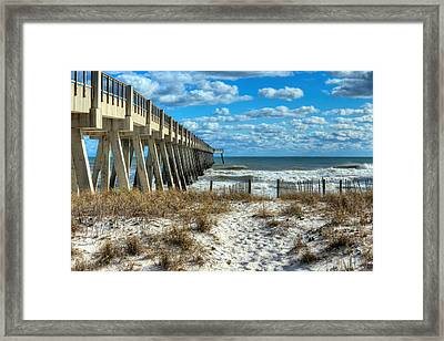 Into The Gulf At Navarre Beach Framed Print by JC Findley