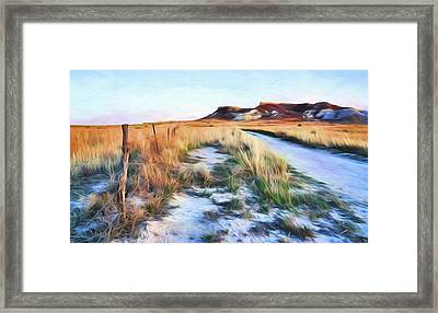Framed Print featuring the digital art Into The Kansas Badlands by Tyler Findley