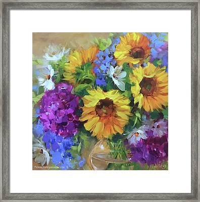 Into The Sky Sunflowers Framed Print