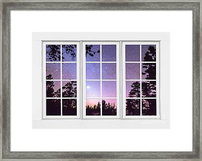 Into The Starry Night Window View  Framed Print