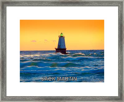 Into The Storm Ludington Michigan Waves And Sunset Skies Framed Print by Jack Martin