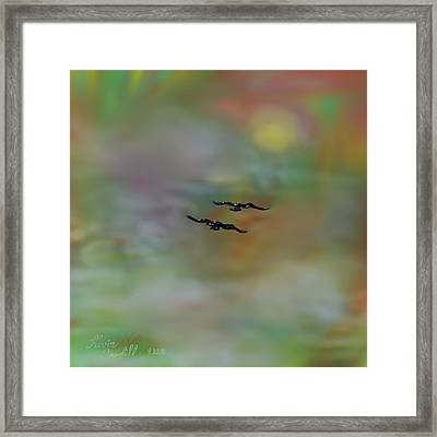Framed Print featuring the painting Into The Sunset by Kevin Caudill