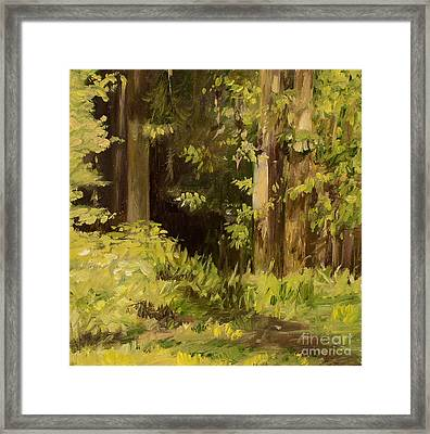 Framed Print featuring the painting Into The Woods by Laurie Rohner
