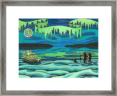 Inuit Love Arctic Landscape Painting Framed Print by Kim Hunter