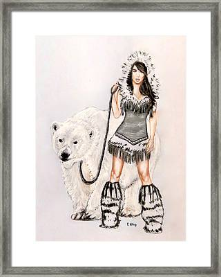 Inuit Pin-up Girl Framed Print by Teresa Wing