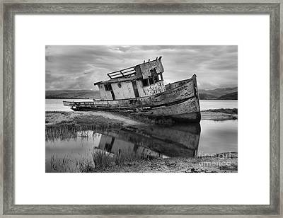 Inveness Shipwreck Black And White Framed Print by Adam Jewell