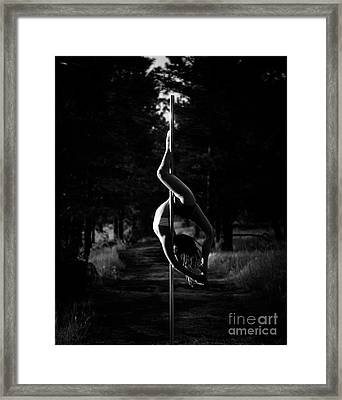 Inverted Pole Dance In Forest Framed Print