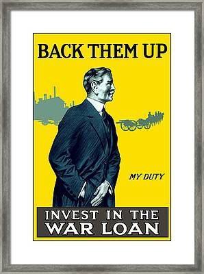 Invest In The War Loan - Ww1 Framed Print