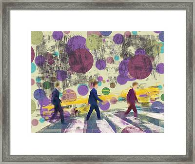 Invisible Men With Balloons Framed Print