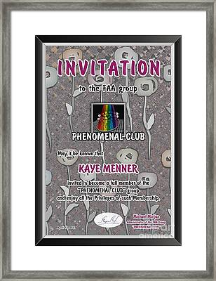 Framed Print featuring the photograph Invitation To Phenomenal Club Faa by Kaye Menner