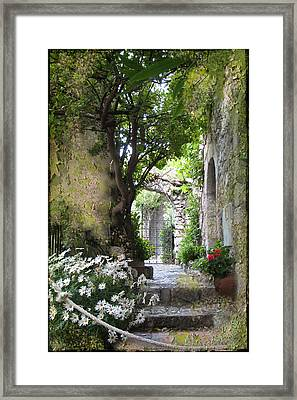 Inviting Courtyard Framed Print
