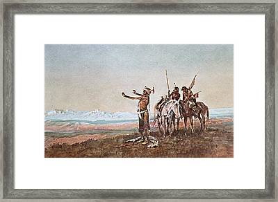 Invocation To The Sun Framed Print by Charles Marion Russell