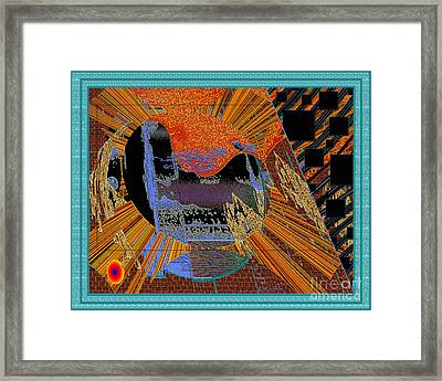Framed Print featuring the digital art Inw_20a0610a_mortar-black_fxfr-blue by Kateri Starczewski